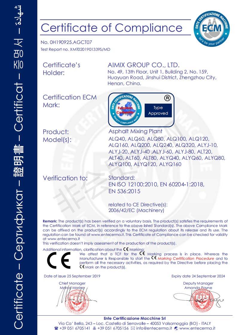 Certificado De CE De Planta De Asfalto